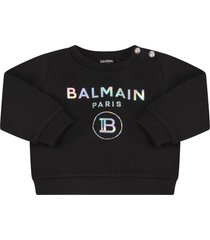balmain black sweatshirt with double logo for babygirl