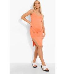 zwangerschap midi jurk met bandjes en zijsplit, coral