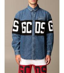 gcds jacket gcds denim shirt with logo