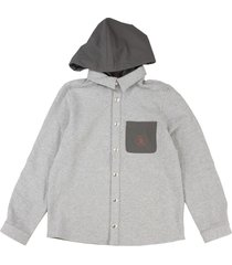 brunello cucinelli comfort cotton french terry shirt-style hooded sweatshirt
