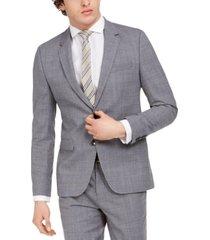 hugo hugo boss men's extra-slim fit mid blue plaid suit separate jacket