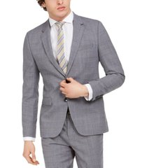 hugo men's skinny-fit mid blue plaid wool suit jacket
