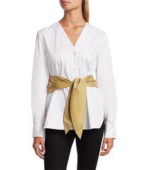 tibi women's belted satin poplin shirt - white - size 10