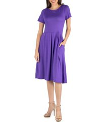 24seven comfort apparel midi dress with short sleeves and pocket detail