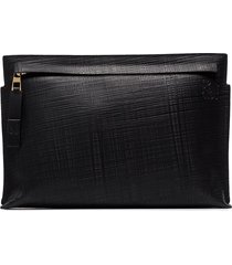 loewe black t pouch linen leather clutch bag