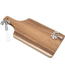 conjunto de tábua de madeira c/espátula de zamac 34x17x3cm – linha palmeira