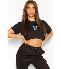 'babygirl' slogan butterfly detail crop t-shirt, black