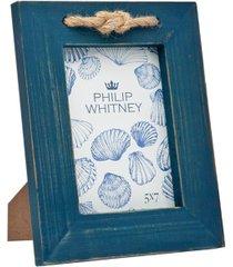 "philip whitney blue wood rope frame - 5"" x 7"""