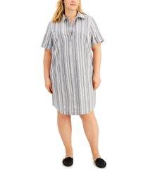 karen scott plus size cotton seersucker dress, created for macy's