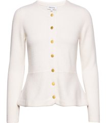peplum jacket stickad tröja cardigan vit davida cashmere