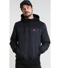 jaqueta masculina em nylon com capuz e bolsos preta