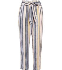 women's caslon stripe belted linen blend pants