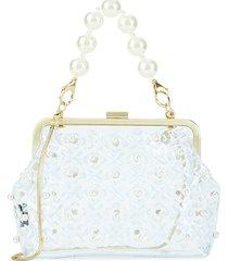 zac zac posen women's lacey faux pearl convertible frame clutch - clear