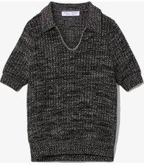proenza schouler white label cotton silk pique knit polo top black m