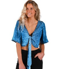blusa top jeans grilladaazul raindoor