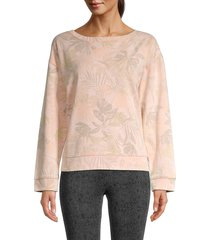 splendid women's boatneck sweatshirt - palm print - size xs