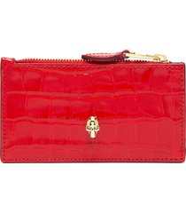 skull embellished croc embossed patent leather pouch