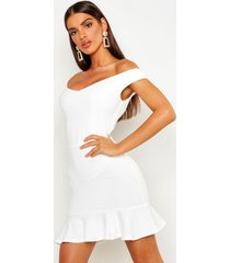 bardot v neck frill hem mini dress, ivory