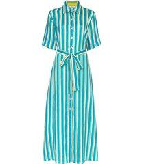 evi grintela sunflower striped maxi shirt dress - blue