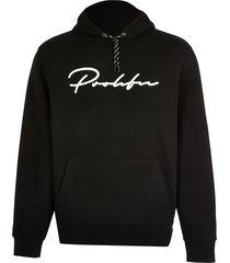 river island mens prolific black slim fit hoodie