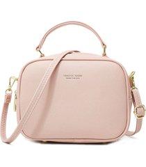 bolso mujer pequeño vintage cuero pu 2917 rosado