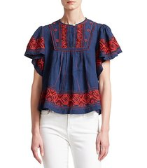 leah puff sleeve embroidered top