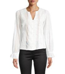 for the republic women's split neck lace top - soft peach - size l