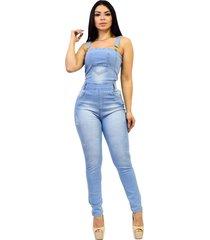 macacã£o jardineira jeans longa de alã§a regata - ewf jeans - estilo clã¡ssico - azul claro - azul - feminino - dafiti