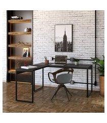 mesa de escritório kuadra ii preta 150 cm