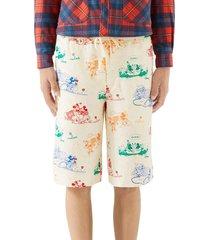 men's gucci x disney print linen shorts, size 46 eu - ivory