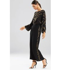 couture tiger stripe beaded pants sleep/lounge/bath wrap/robe, women's, black, 100% silk, size m, josie natori