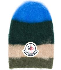 moncler mohair blend stripe knit hat - green