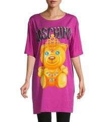 moschino women's graphic mini t-shirt dress - violet - size 38 (4)