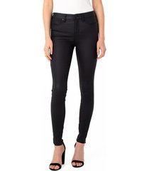 women's liverpool los angeles abby coated high waist skinny jeans, size 14 - black