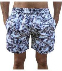 bermuda short moda praia estampados dolar relaxado masculina - masculino