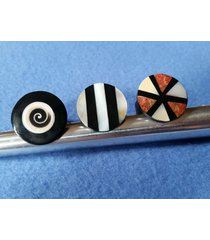 shell inlay ring, black ring with natural mother of pearl or shell inlay