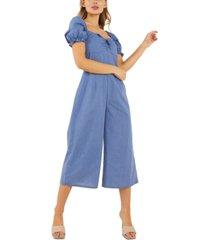 quiz cotton puff-sleeve culotte jumpsuit