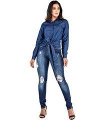 camisa jeans latifundio manga longa com amarração feminina
