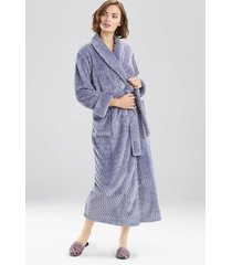 natori plush geo robe, women's, grey, size l natori