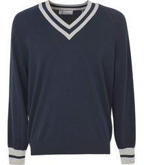 brunello cucinelli v-neck stripe detail sweatshirt