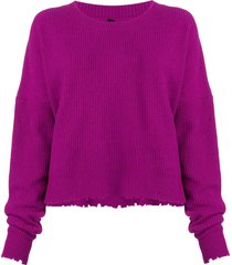 unravel project frayed knit sweater - pink
