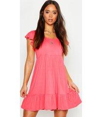 jersey babydoll jurk met geplooide zoom, coral