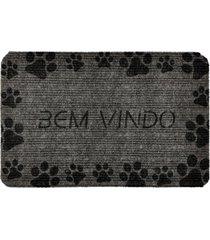 capacho carpet bem vindo com patinhas pretas cinza ãšnico love decor - cinza - dafiti