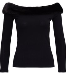 blumarine sweater with fur neckline
