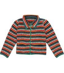 rainbow hand knit wave zip jacket
