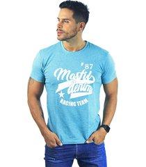 camiseta hombre manga corta slim fit verde marfil racing