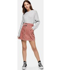 pink corduroy button down belted mini skirt - pink