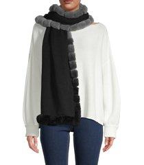 la fiorentina women's rabbit fur-trim scarf - black ombre