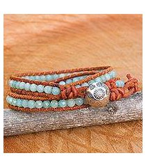amazonite and agate wrap bracelet, 'forest flower' (thailand)