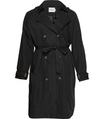 jrkatuk ls long trench coat - s trenchcoat lange jas zwart junarose